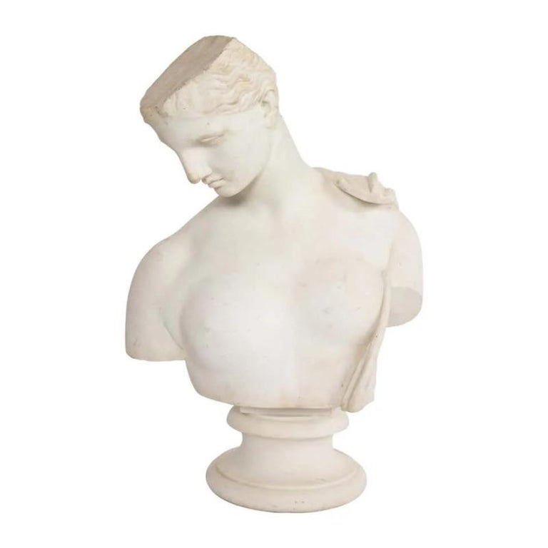 Unknown Figurative Sculpture - An Antique Italian Neoclassical Marble Bust of Psyche, by Giuseppe Carnevale