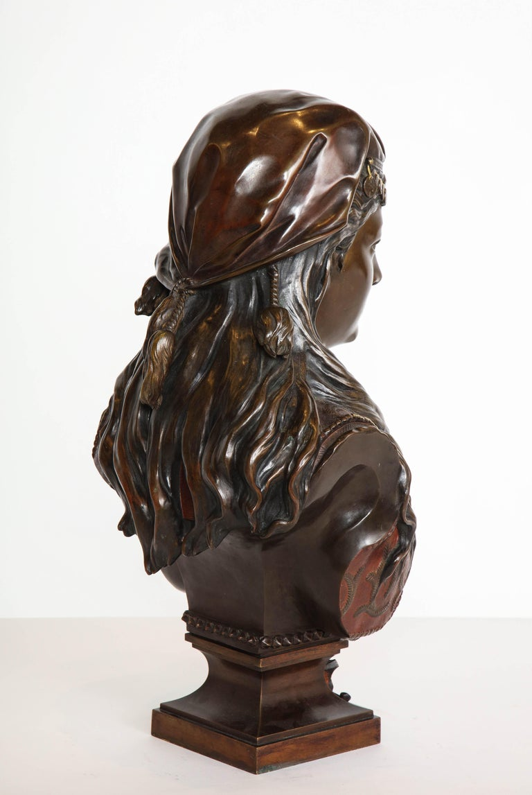 An Exquisite French Multi-Patinated Orientalist Bronze Bust of Beauty, by Rimbez For Sale 7
