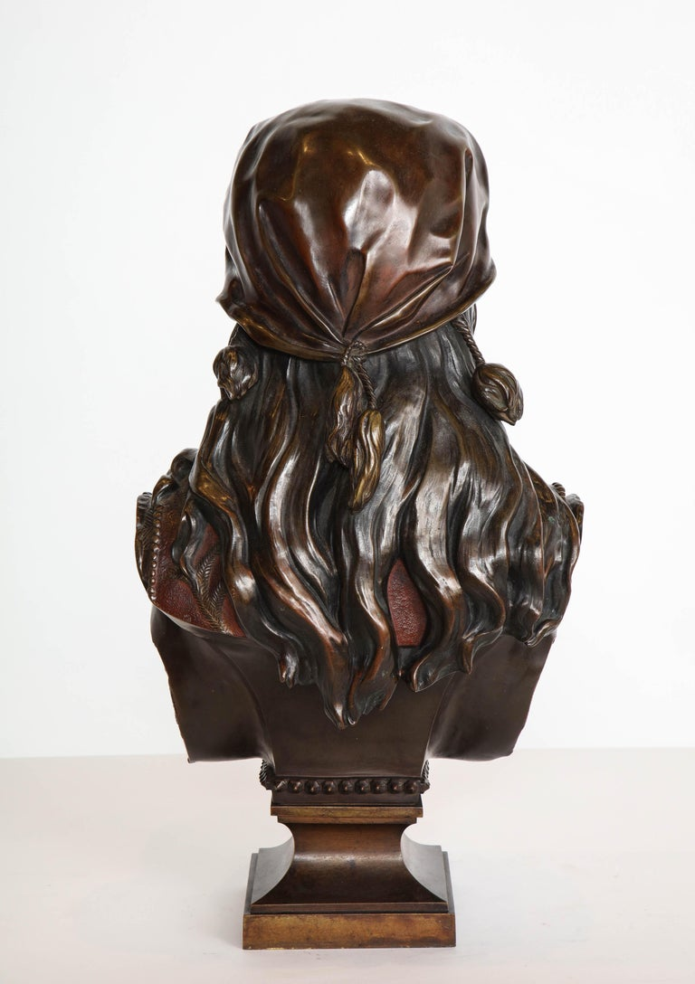 An Exquisite French Multi-Patinated Orientalist Bronze Bust of Beauty, by Rimbez For Sale 8