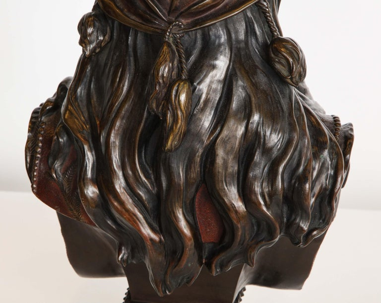 An Exquisite French Multi-Patinated Orientalist Bronze Bust of Beauty, by Rimbez For Sale 9