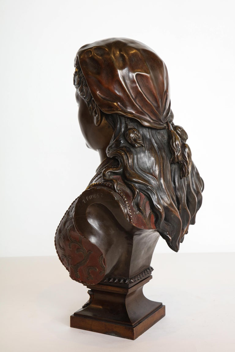 An Exquisite French Multi-Patinated Orientalist Bronze Bust of Beauty, by Rimbez For Sale 10