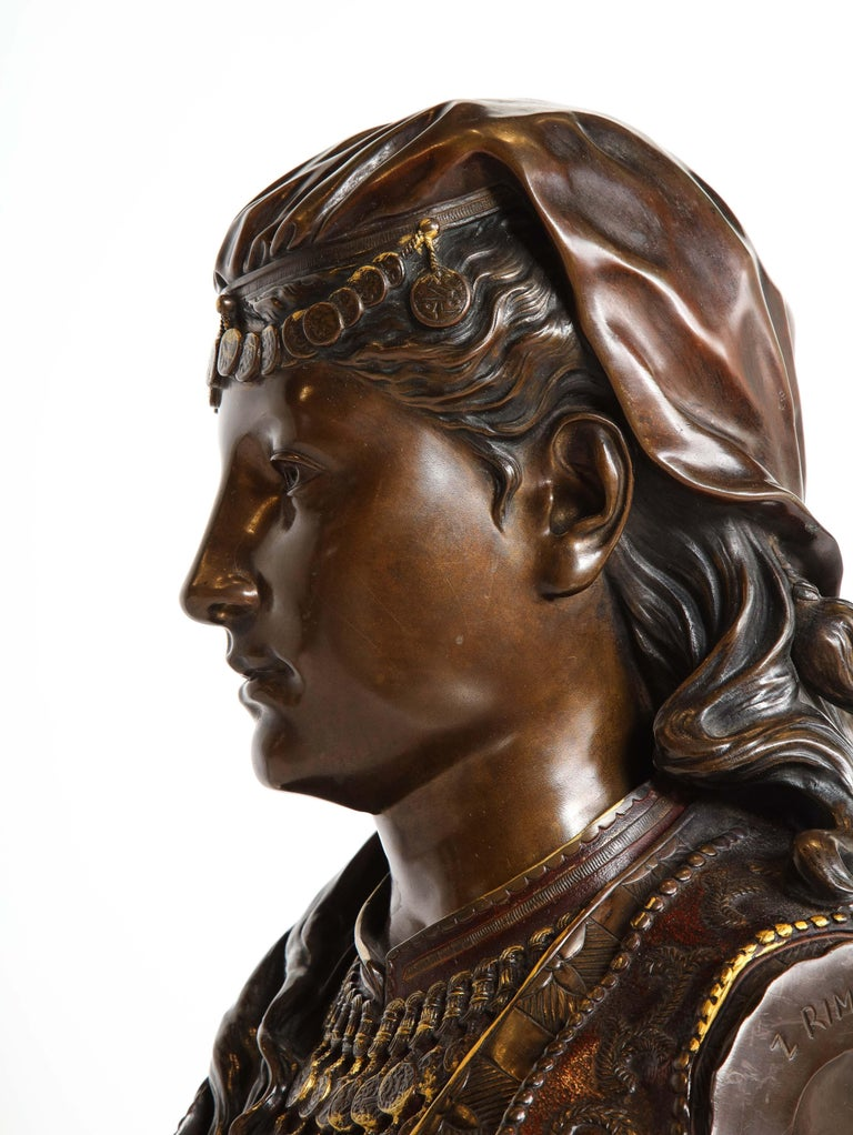 An Exquisite French Multi-Patinated Orientalist Bronze Bust of Beauty, by Rimbez For Sale 12