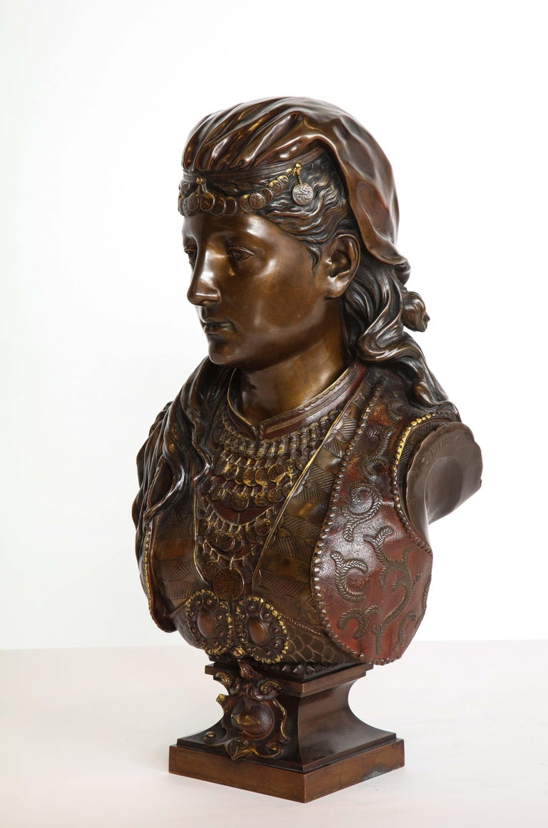 An Exquisite French Multi-Patinated Orientalist Bronze Bust of Beauty, by Rimbez For Sale 14