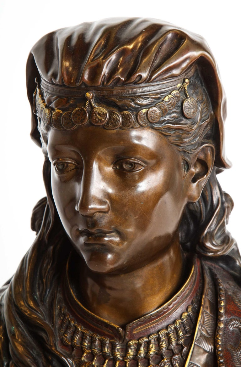 An Exquisite French Multi-Patinated Orientalist Bronze Bust of Beauty, by Rimbez For Sale 15