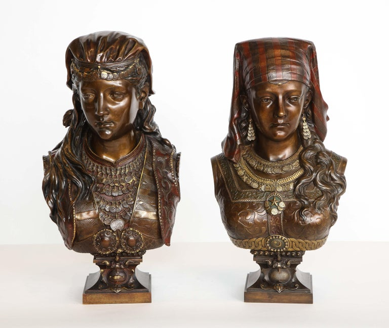 An Exquisite French Multi-Patinated Orientalist Bronze Bust of Beauty, by Rimbez For Sale 16