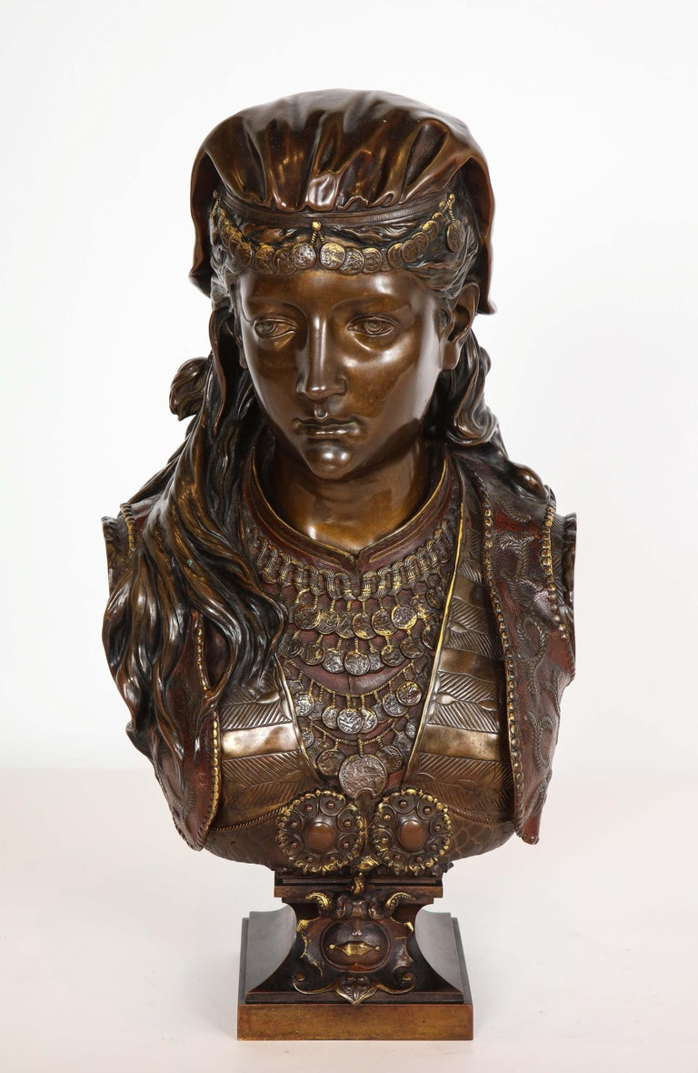 An Exquisite French Multi-Patinated Orientalist Bronze Bust of Beauty, by Rimbez - Sculpture by Unknown