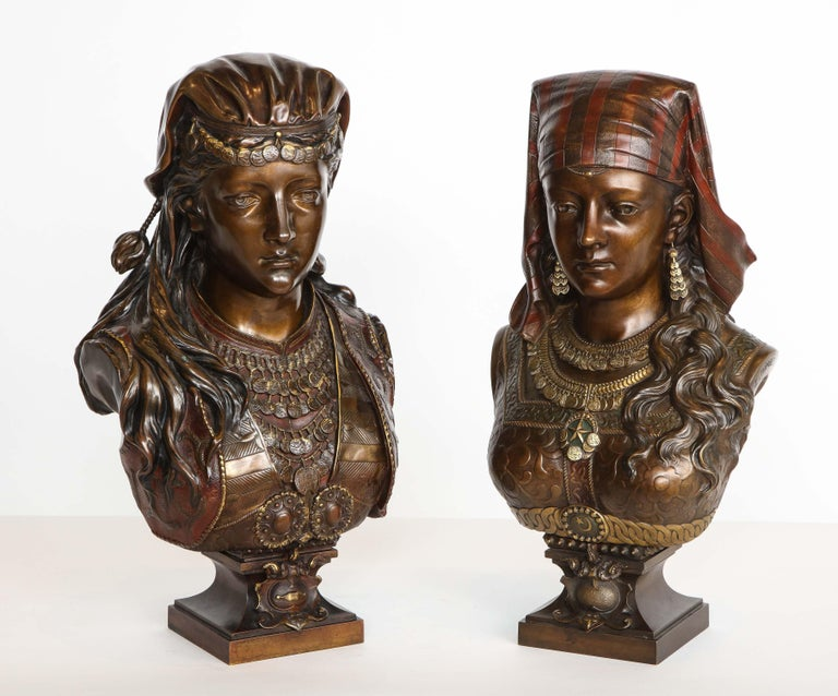 An Exquisite French Multi-Patinated Orientalist Bronze Bust of Beauty, by Rimbez For Sale 17