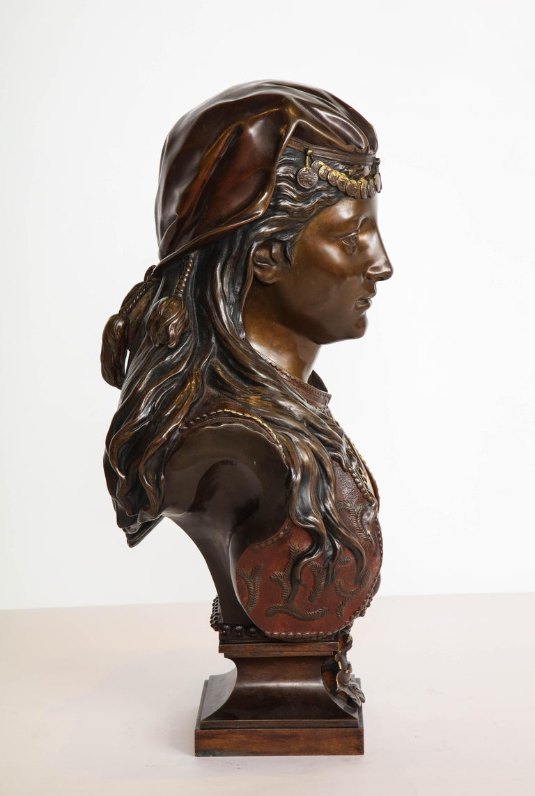 An Exquisite French Multi-Patinated Orientalist Bronze Bust of A Turkish Beauty, by Zacharie Rimbez, late 19th century.  Signed 'Z. Rimbez' (on the left shoulder)  Please check our other listings for another bust by Rimbez (could be a pair).  22