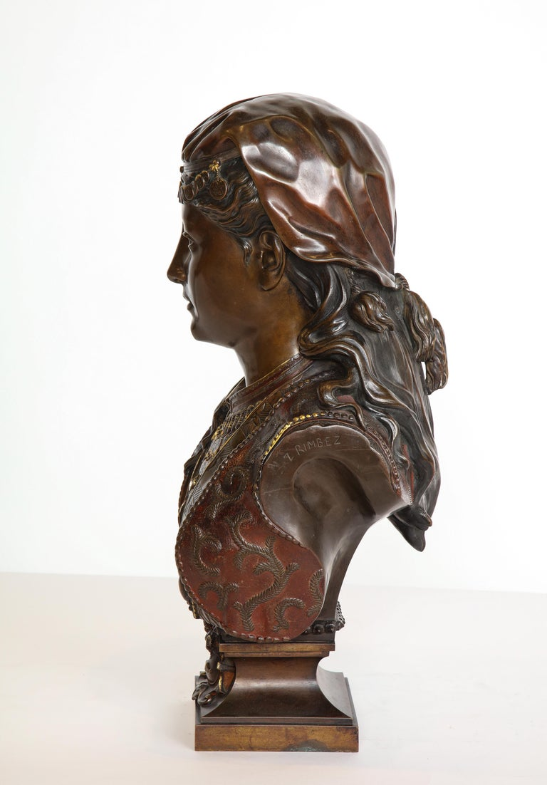 An Exquisite French Multi-Patinated Orientalist Bronze Bust of Beauty, by Rimbez For Sale 1