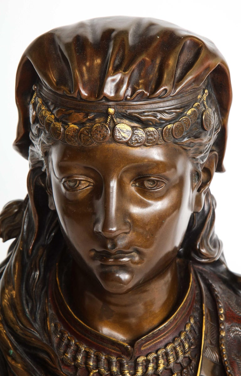 An Exquisite French Multi-Patinated Orientalist Bronze Bust of Beauty, by Rimbez For Sale 2