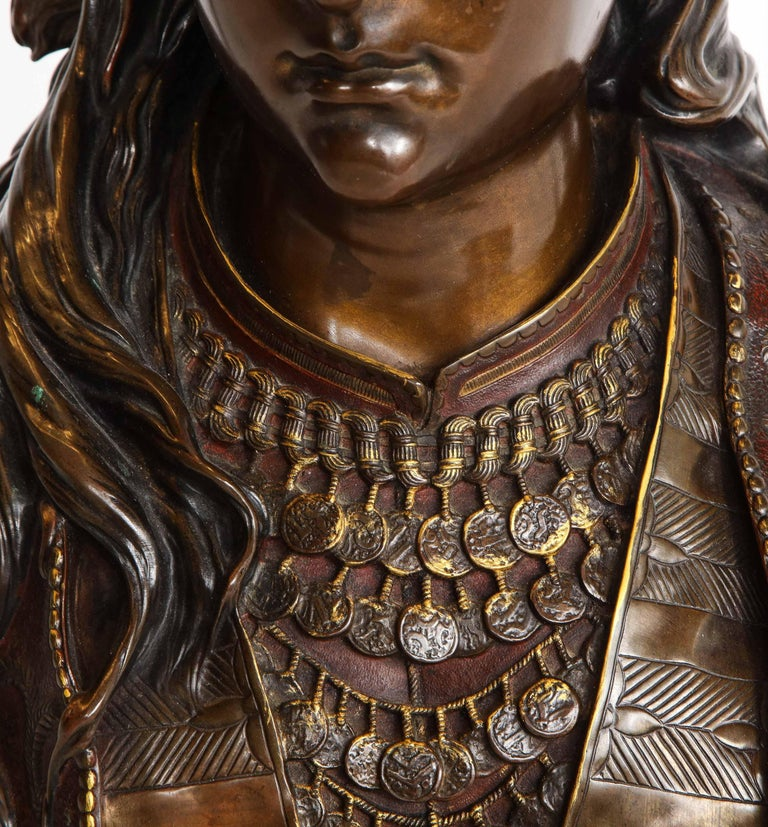 An Exquisite French Multi-Patinated Orientalist Bronze Bust of Beauty, by Rimbez For Sale 5