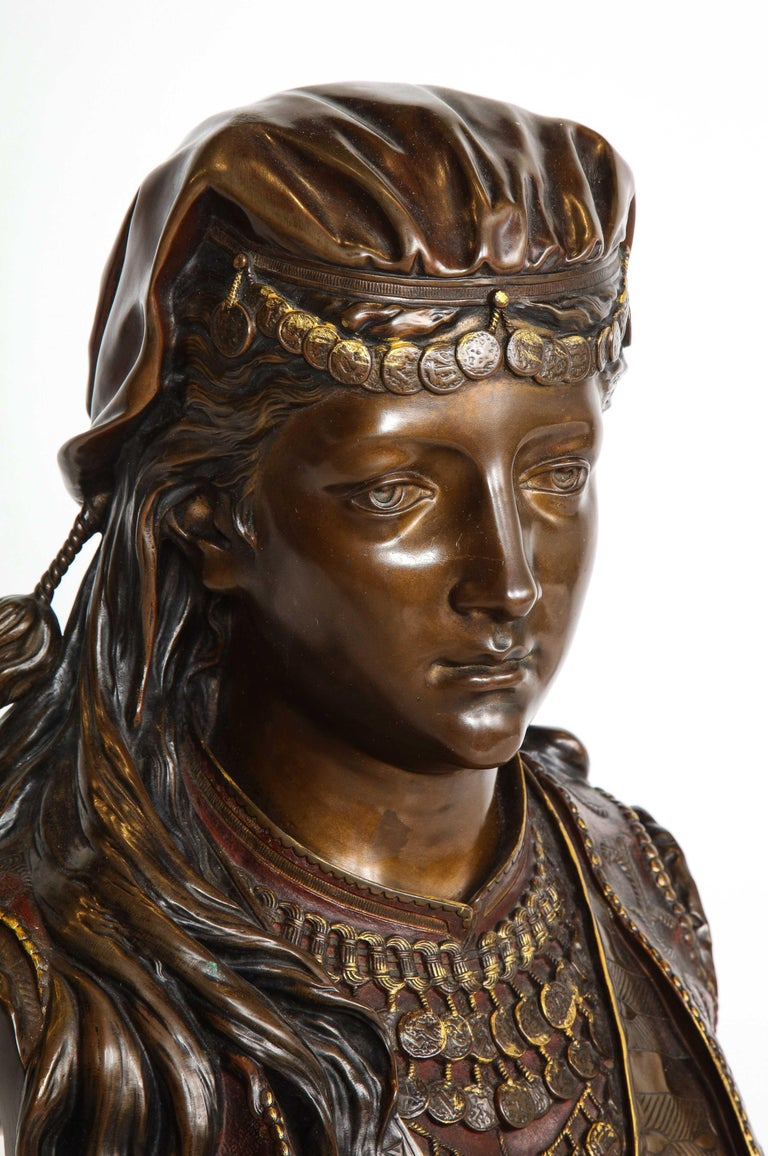 An Exquisite French Multi-Patinated Orientalist Bronze Bust of Beauty, by Rimbez For Sale 6