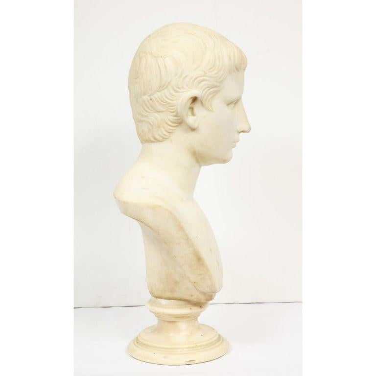 An Italian White Marble Figural Bust of Augustus Caesar, Rome, circa 1875 For Sale 10