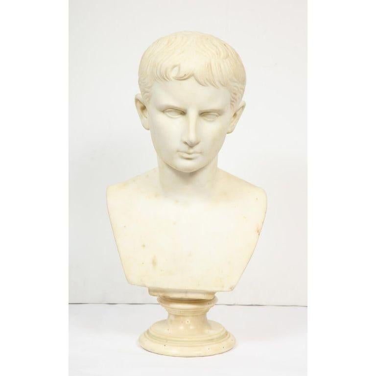 An Italian White Marble Figural Bust of Augustus Caesar, Rome, circa 1875 - Sculpture by Unknown