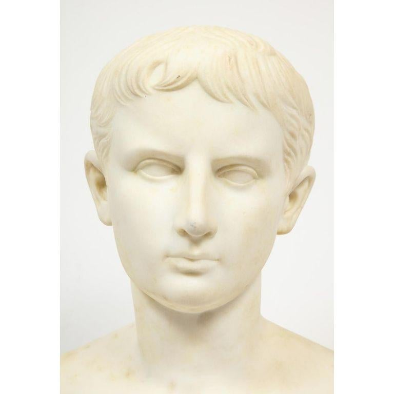 A Fine Italian Grand Tour White Marble Figural Bust of Augustus Caesar, Rome, circa 1875.  Very nice quality marble bust of Augustus Caesar, unsigned.  Good condition, needs to be cleaned, minor chips to the round socle base.  21