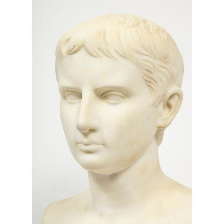 An Italian White Marble Figural Bust of Augustus Caesar, Rome, circa 1875 For Sale 1