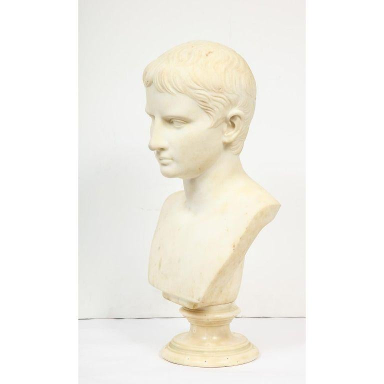 An Italian White Marble Figural Bust of Augustus Caesar, Rome, circa 1875 For Sale 2