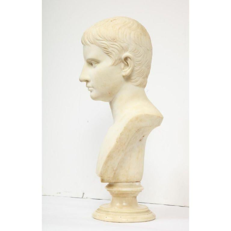 An Italian White Marble Figural Bust of Augustus Caesar, Rome, circa 1875 For Sale 3