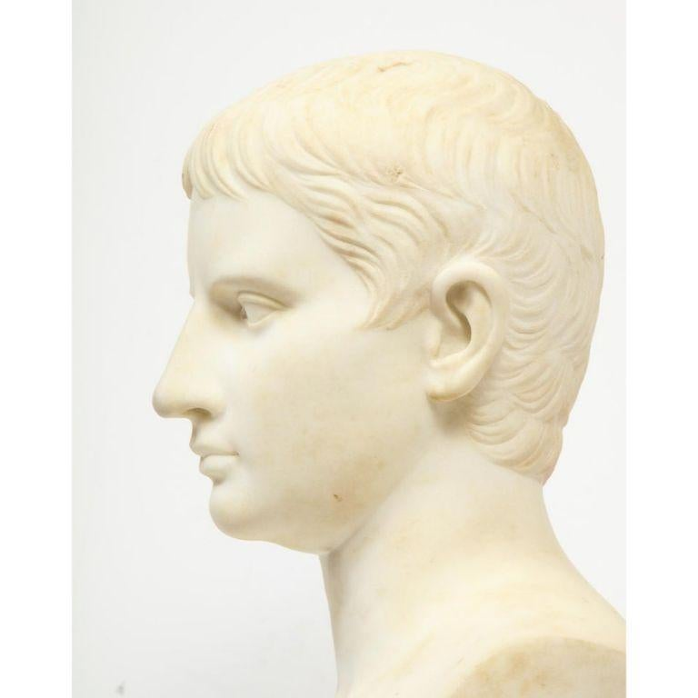 An Italian White Marble Figural Bust of Augustus Caesar, Rome, circa 1875 For Sale 4