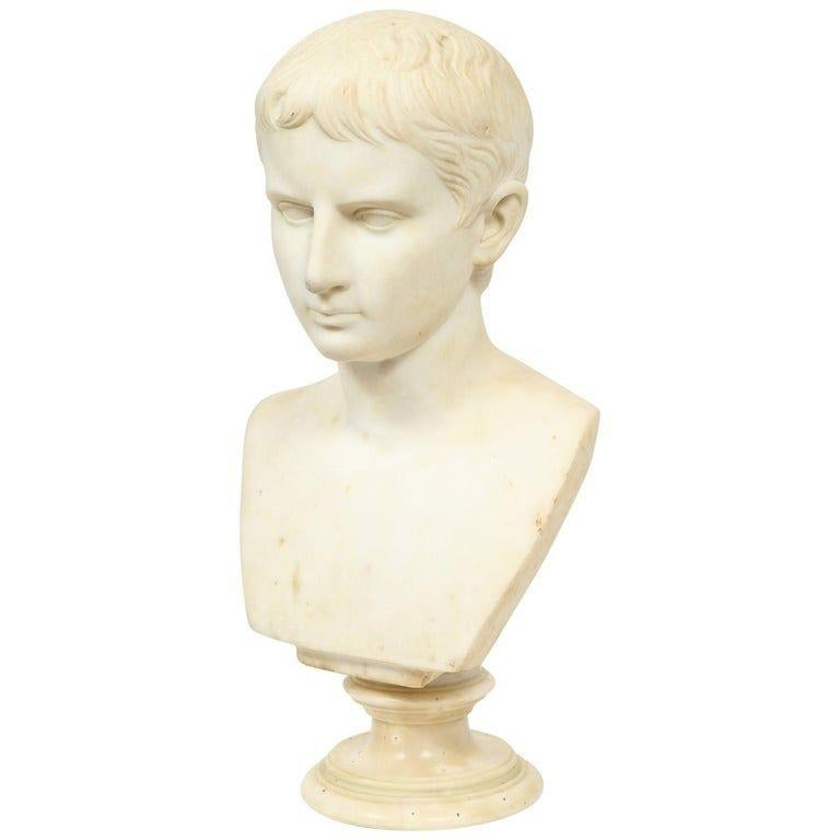 Unknown Figurative Sculpture - An Italian White Marble Figural Bust of Augustus Caesar, Rome, circa 1875