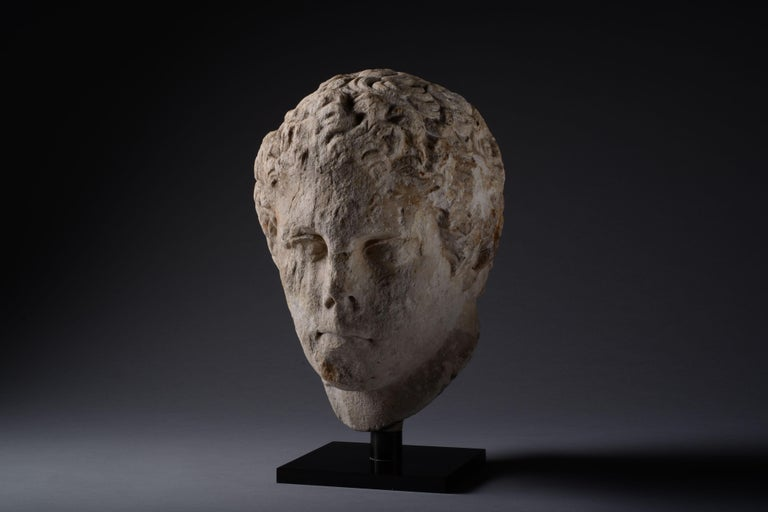Ancient Greek Hellenistic Marble Head of an Athlete For Sale 3