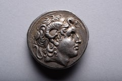 Ancient Greek Silver Tetradrachm Coin with the Head of Alexander
