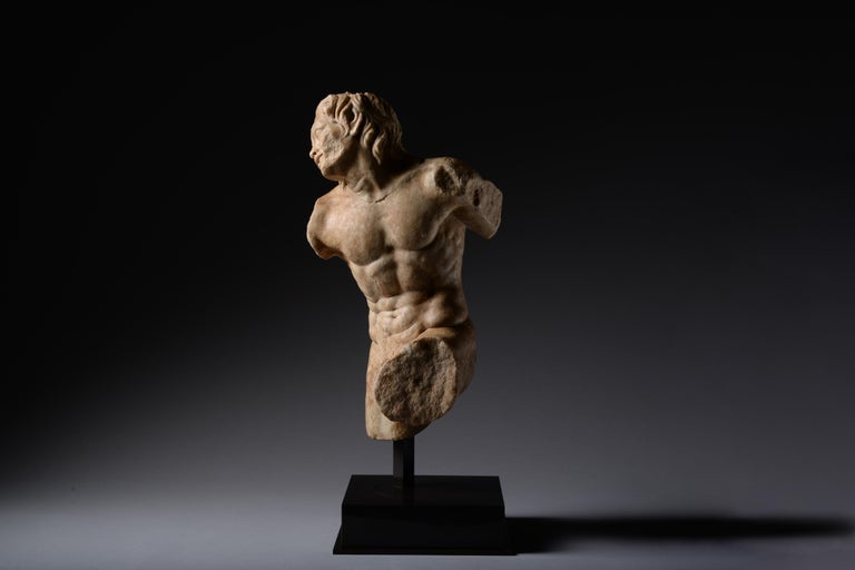 Ancient Roman Marble Statue of a Dancing Satyr - Sculpture by Unknown