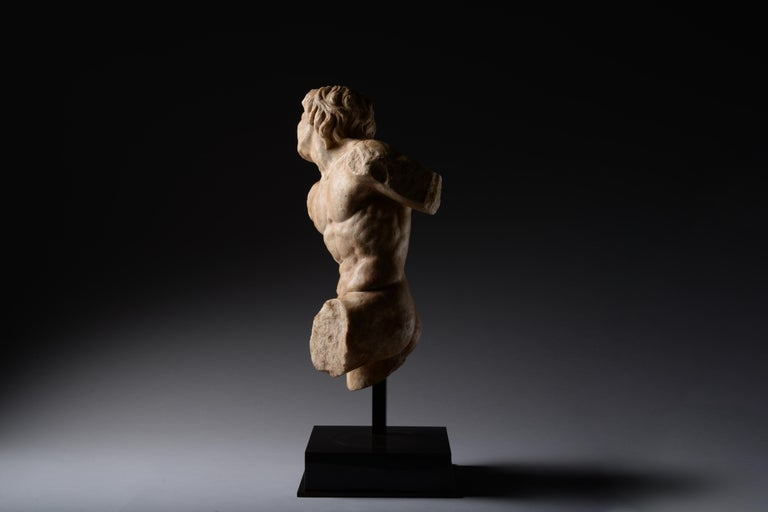 Ancient Roman Marble Statue of a Dancing Satyr - Black Figurative Sculpture by Unknown