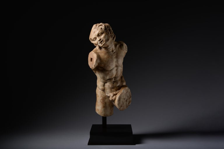 Unknown Figurative Sculpture - Ancient Roman Marble Statue of a Dancing Satyr