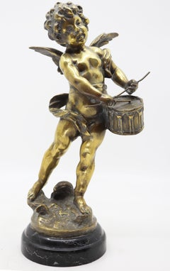 Angel playing tambourine, bronze, 19 century