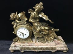 Antique 19th C. Gilt Bronze French Mantel Clock