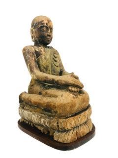 Antique Asian Buddhist Monk Wood Sculpture