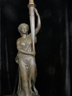 Antique Bronze, Lady w/ Lamp Statue