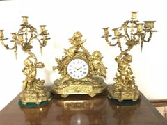 Antique Gilt Bronze Clock Set Signed By HENRI PICARD (FRENCH, 1840 1890)