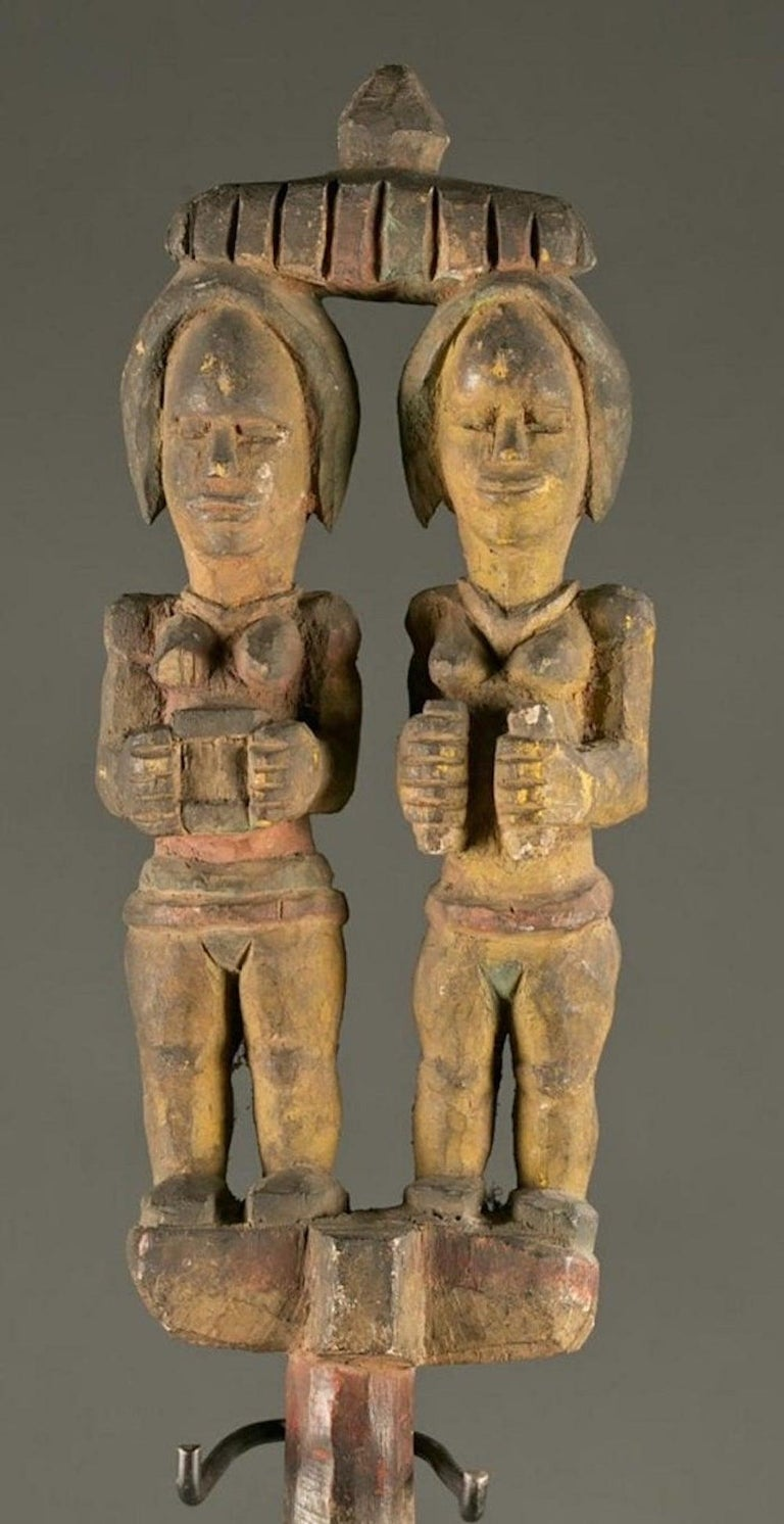 Antique Polychrome Wood Carving Igbo Nigeria - Sculpture by Unknown