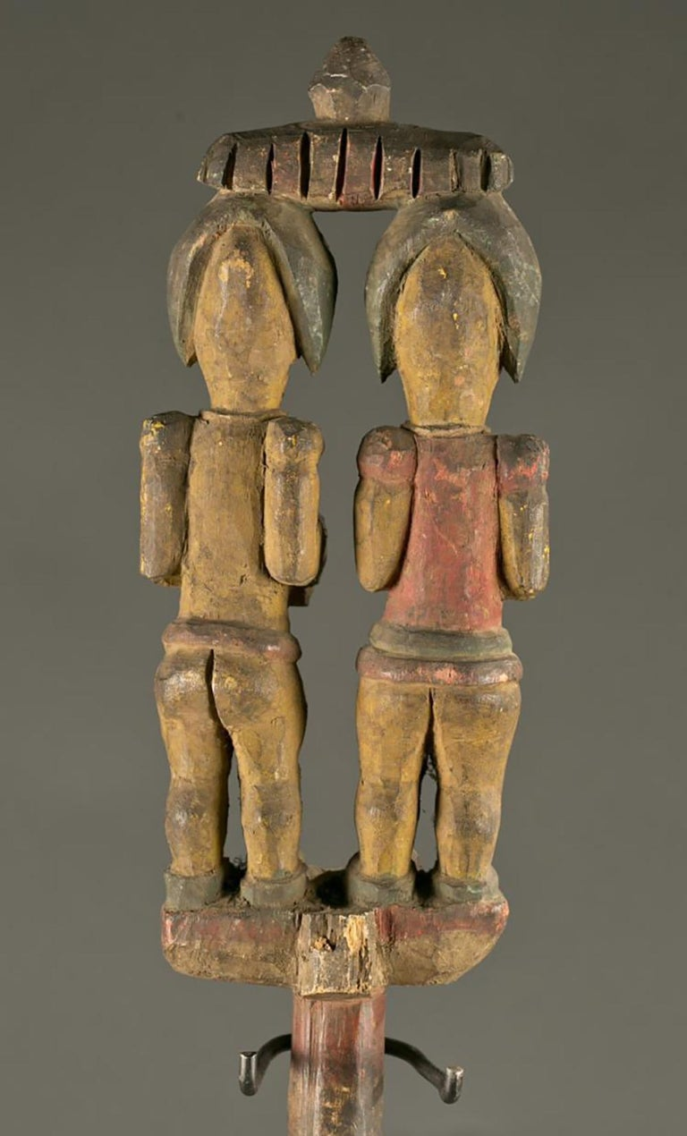 Antique Polychrome Wood Carving Igbo Nigeria - Tribal Sculpture by Unknown