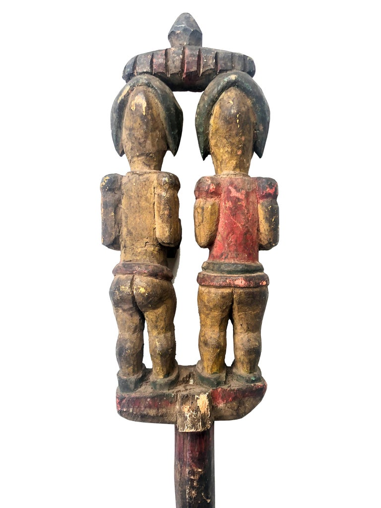 Antique Polychrome Wood Carving Igbo Nigeria For Sale 1