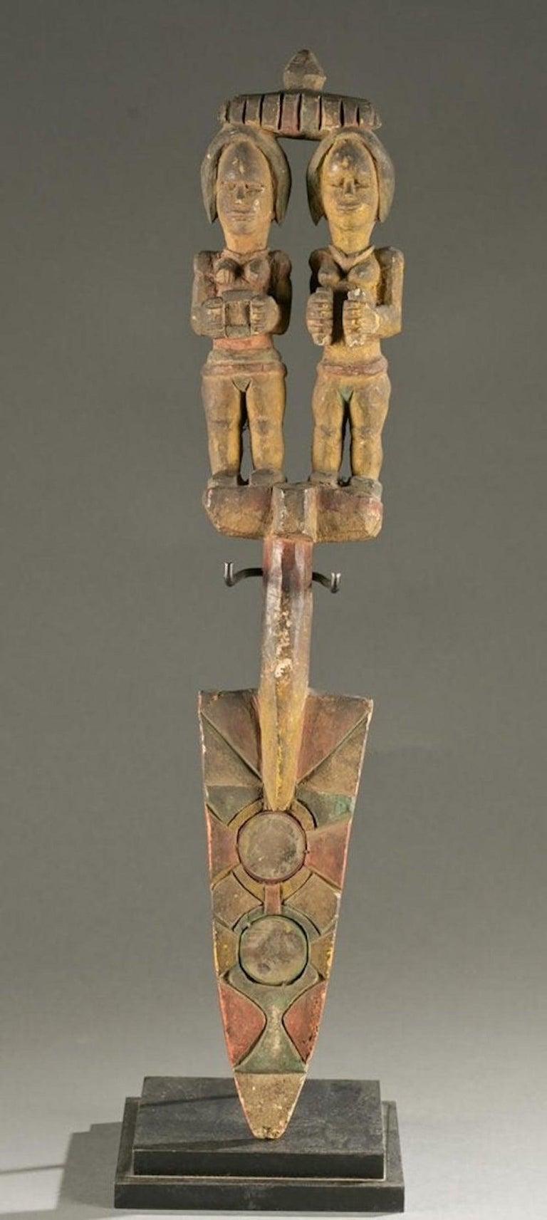 Unknown Figurative Sculpture - Antique Polychrome Wood Carving Igbo Nigeria