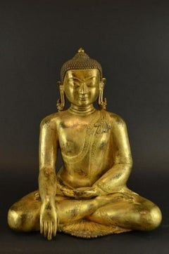 Antique Tibetan Gilt Bronze Seated Buddha