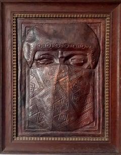 Art deco copper relief wall panel exotic veiled male bedouin sculpture