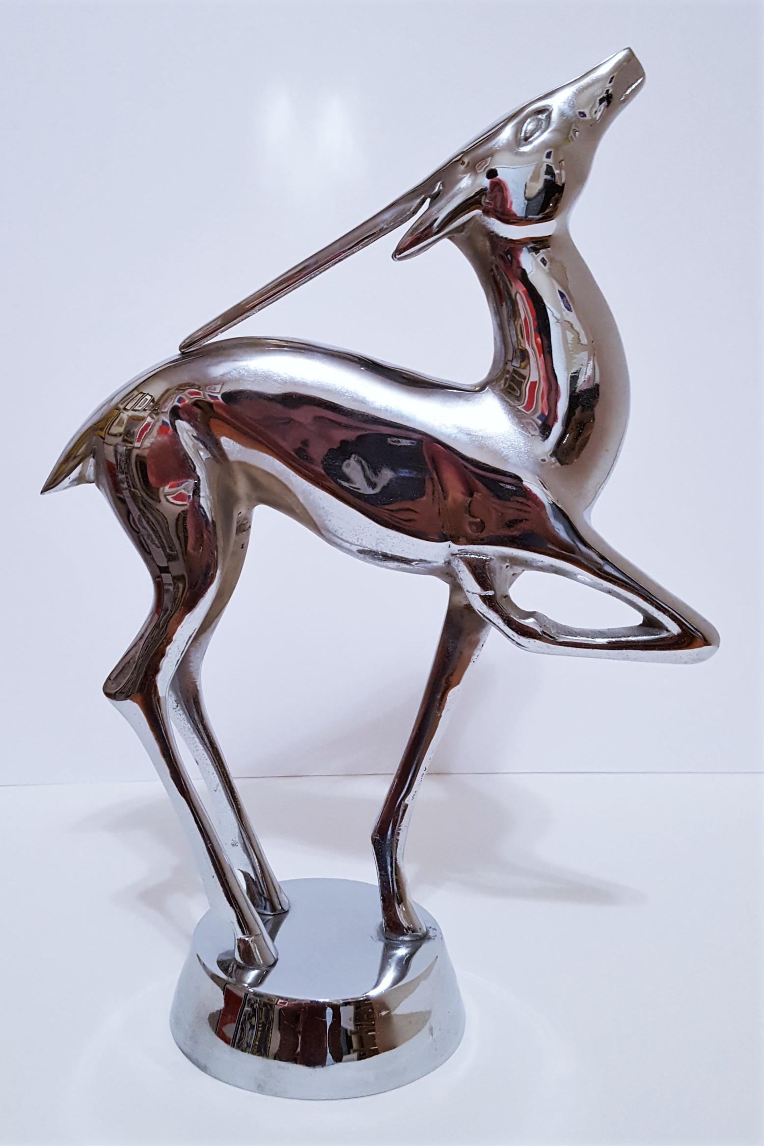 Art Deco Gazelle Antelope Modernist Chrome Metal Sculpture