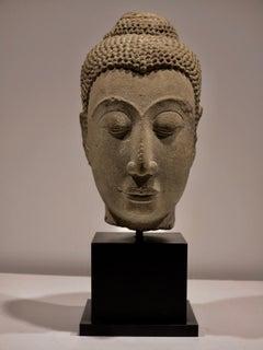 Ayuthaya 14th century sandstone bust Buddha sculpture Thailand