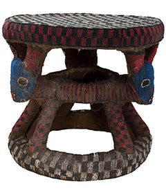"""""""Bamou Stool Used by Cattle Owner -- Cameroon,"""" Wood, Cloth, & Beads from Africa"""
