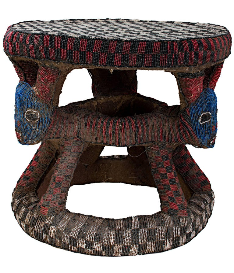 """""""Bamou Stool Used by Cattle Owner -- Cameroon,"""" Wood, Cloth, & Beads from Africa - Sculpture by Unknown"""