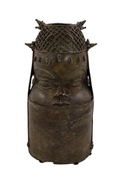 """Benin Queen's Head Nigeria,"" Bronze created in Africa circa 1900"