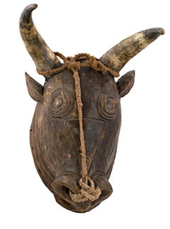 """Bidjoguo Head Portuguese Guinea,"" Wood, Rope, & Horns created circa 1950"
