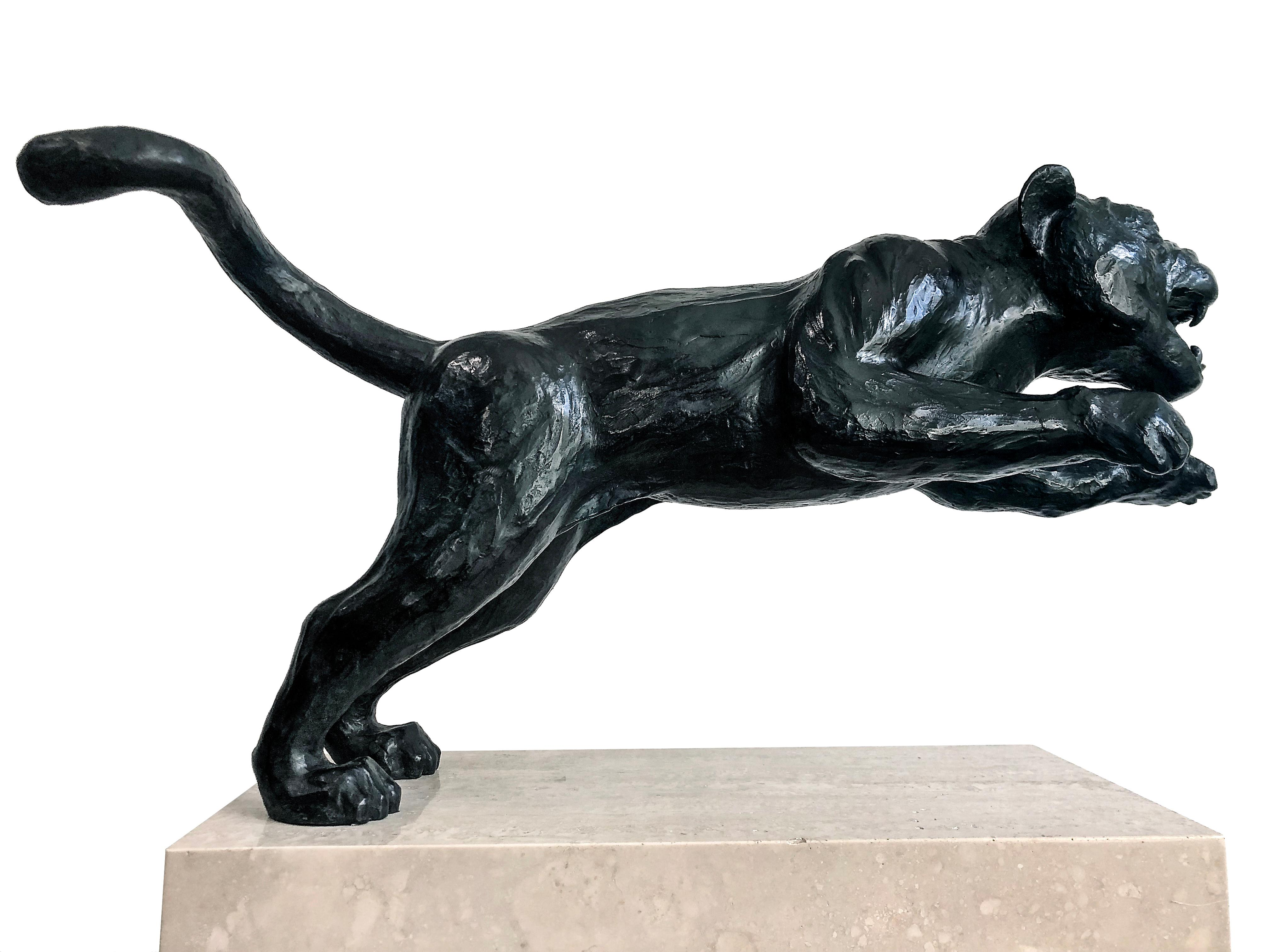 Black Panther Bronze Sculpture S. K. Initials