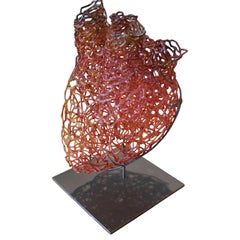 Blown Glass Red and Orange Anatomical Heart Sculpture