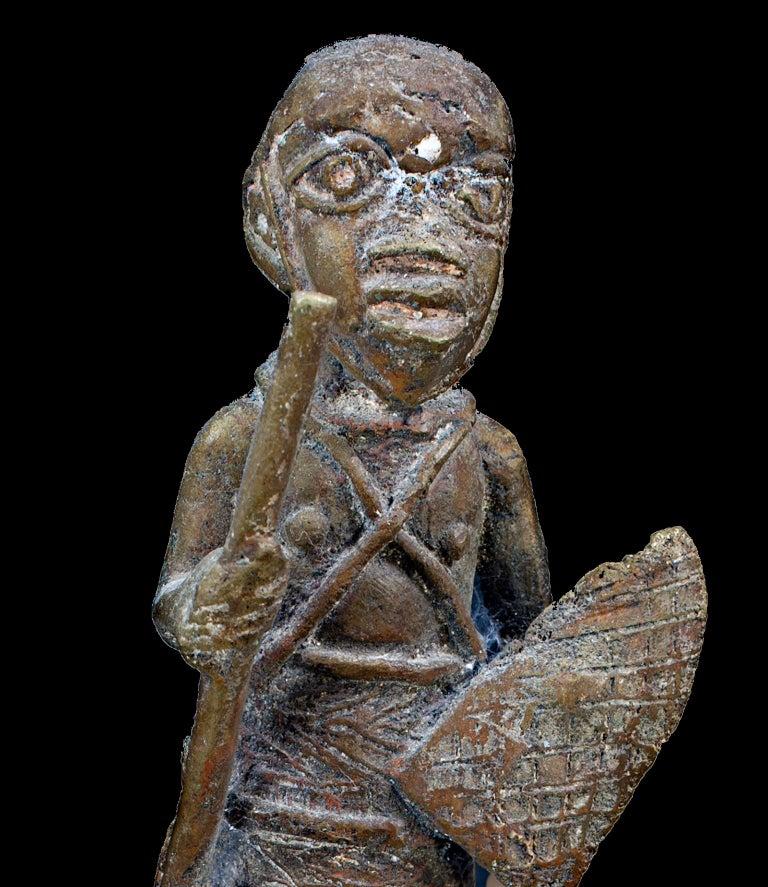 Bronze Benin Medicine Jar, Late 19th Century, African (Nigeria) - Sculpture by Unknown