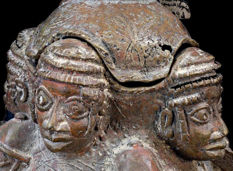 Bronze Benin Medicine Jar, Late 19th Century, African (Nigeria) - Folk Art Sculpture by Unknown